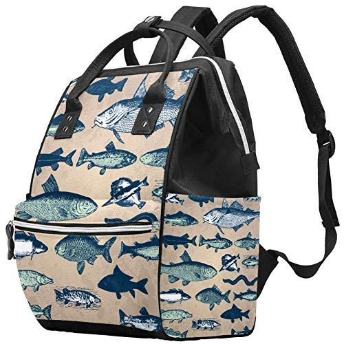 Underwater World Vintage Fish Nappy Changing Bag Diaper Sac à dos avec poches isolées, sangles de poussette, grande capacité multifonctionnel élégant sac à couches pour maman papa en plein air