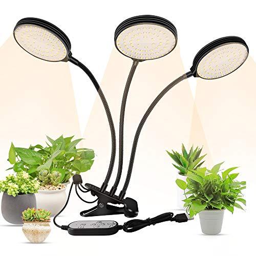 Lámpara LED Cultivo,3 Cabezas Plantas Grow Light,Lámparas de Crecimiento Impermeable,Lámpara para Plantas,3 modos,5 niveles de brillo,Temporizador de 4/8/12 horas,Rotación de 360 °,Alimentado por USB