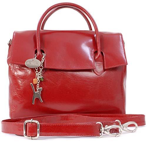 Catwalk Collection Handbags - Vera Pelle - Borsa a Tracolla da Lavoro/Borse a Mano/Spalla/Messenger/Borsa Business/Tracolla Regolabile e Rimovibile - Per iPad/Tablet - Ella - ROSSO