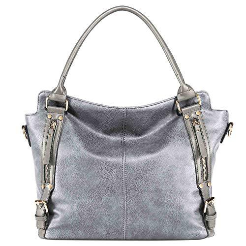 Neuleben Elegant Schultertasche Handtasche Henkeltasche 15,6 Zoll Laptoptasche aus PU Leder Damen Frauen für Büro Einkauf Freizeit Schule (Silber Grau)