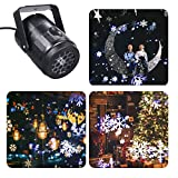 Ltteny Christmas Projector Lights, Waterproof Outdoor Moving Snowflakes LED Christmas Lights for Christmas Holiday Outdoor Indoor Decor