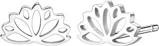 السعادة بوتيك المرأة لوتس أقراط الفضة اللون زهرة لوتس الأذن ترصيع الفولاذ المقاوم للصدأ مجوهرات