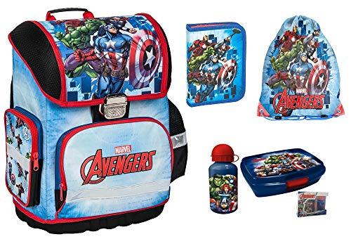 Avengers Marvel Schulranzen für Jungen 1 Klasse 6 TLG. inkl. Federmäppchen, Lunch Set, Sportbeutel, Regenschutz | Tornister super leicht | ergonomisch und Anatomisch