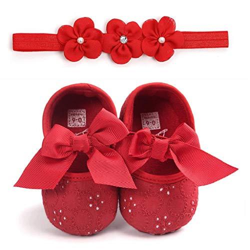 Zapatos Bebé Niña+Diademas SHOBDW Suela Suave Antideslizante Zapatillas Linda Linda Flor Encantadora Zapatos De Princesa Zapatos Bebé Recién Nacida 2019 Zapatos Bebe Primeros Pasos(Rojo,0~6)