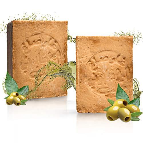 tom&pat® Savon Alep Original (2x 200g) + EBOOK : SAVON NATUREL DIY, 80%/20% huile d'olive/de laurier, savon pour la douche, les cheveux, et les mains – savon ph neutre, détoxifiant