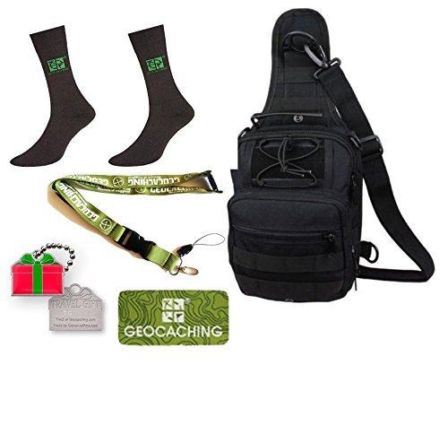 Geocaching Paket 5 Teile- Geocaching Rucksack, Set Geschenkset Groundspeak Socken, Lanyard, Travelbug Traveltag Patch Weihnachten