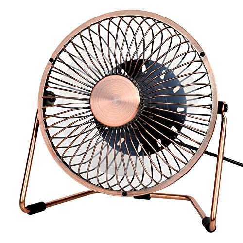 YIHUNION 5 Inch Mini Desk Fan, USB Desktop Personal Small Cooling Fan, Metal design, 360 Degree Rotation, 2 Setting Perfect for Home Office Bedroom