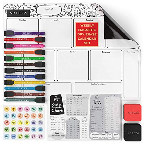 Arteza Dry Erase Magnetic Weekly Calendar Set (17x12 inch), with 12 Whiteboard Markers, 30 Magnets, 2 Erasers, Organizer, Kitchen Planner Chart for Refrigerator, Fridge