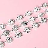 AUBERSIT Cadena de Diamantes de imitación de Soldadura, decoración de Vestidos de Novia DIY, Accesorios para el Cabello, Plata