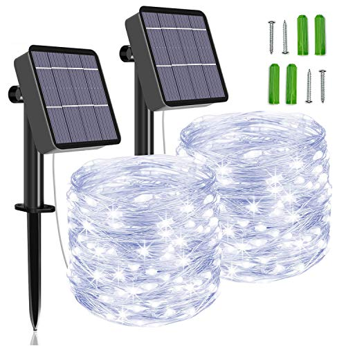 [2 Pack] Solar String Lights, 85 FT 240 LED Outdoor Solar Powered Fairy Lights with 8 Modes, Waterproof Decoration Copper Wire Garden Lights for Patio,Yard,Christmas,Wedding,Party.(Cool White)