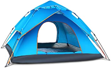 Yupfun Double Layer Tent Camping Tent Outdoor Automatic Tent Waterproof / Rain-Proof For Camping Blue