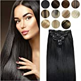 Clip in Hair Extensions 10A Brazilian human hair extension no tangling no shedding 100% Real Human Hair 10A Quality Remy Hair Double Weft Off Black Hair 18' 7pieces 120g