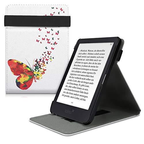 kwmobile Tolino Shine 3 Hülle - Schlaufe Ständer - e-Reader Schutzhülle für Tolino Shine 3 - Schmetterling Schwarm Design Mehrfarbig Pink Weiß