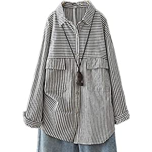 Women's Casual V Neck Linen Shirts Striped Button Down Collar Blouses Loose Tunic Tops with Pockets