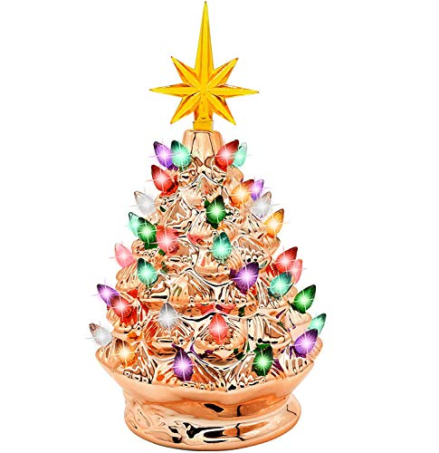 Joiedomi 9.25' Gold Ceramic Christmas Tree, Prelit Tabletop Christmas Tree with Extra Yellow Star Topper & Bulbs for Best Desk Decoration