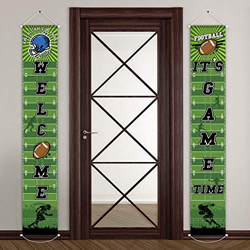 Football Party Banner Welcome Porch Sign for Football Theme Festival Birthday Baby Shower Decoration