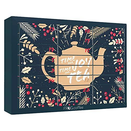 Tee-Adventskalender von FROG.coffee | Doppelter Genuss - 48 Teebeutel | Teekanne, ChariTea, Meßmer, Cupper, Bünting uvm. | Plastikfreies Box-in-Box-System | Bio-, Kräuter & Früchte-Tee | Edition 2021