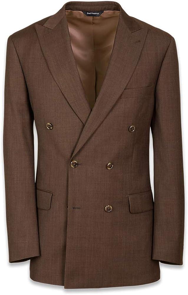 Paul Fredrick Men's Classic Fit Double Breasted Peak Lapel Suit Jacket