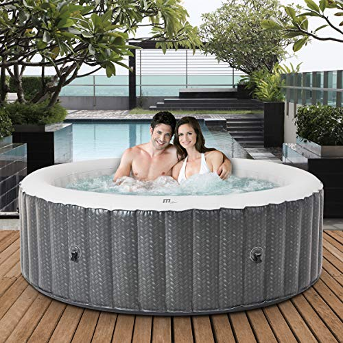 Miweba MSpa aufblasbarer Whirlpool 2021 Comfort Ottoman C-OM061 - für 6 Personen - 138 Luftdüsen - Pool aufblasbar - Rattan-Optik (6 Personen)