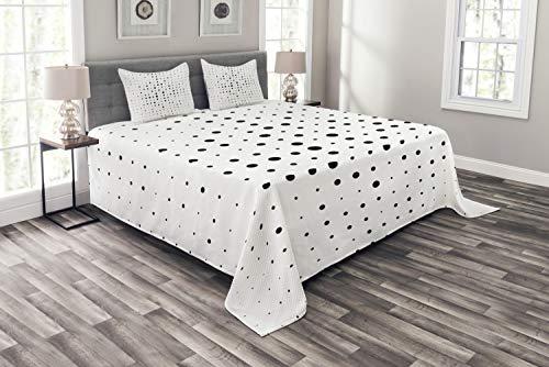 ABAKUHAUS Nowoczesny zestaw narzut, duże małe kropki pop-art, zestaw poszewek na poduszki, kołdra letnia, na łóżko dwuosobowe, 220 x 220 cm, biało-czarny