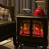 TONINI Chimenea eléctrica Vintage con 2 Puertas de Vidrio Templado, Llama de Registro LED, Temperatura Ajustable, Blanco