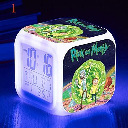 Reloj LED Que Cambia de Color Colorido, Regalos para niños, Relojes de Alarma de Dibujos Animados de Rick y Morty, Regalo para Estudiantes, Reloj Despertador Creativo