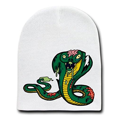 Zombie King Cobra Snake Funny Animal Zombie Cartoon - White Beanie Skull Cap Hat