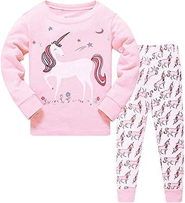 HommyFine Pijamas de Manga Larga para niñas, Niña Pijamas Conjunto Algodón Dos Piezas, Pijamas para niñas Unicornio Ajuste Ceñido Talla 2 a 7 años (Unicornio 02, 130)