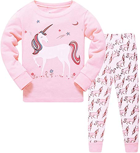 HommyFine Bambine Pigiama per Bambine e Ragazze 2 Pezzi Pigiama a Maniche Lunghe per Ragazze Unicorno Pajama Set per Bambine dai 2 ai 7 Anni (Unicorno 02, 100)