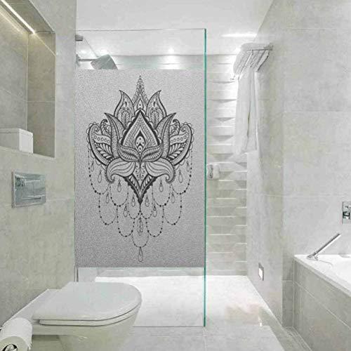 Adhesivo decorativo para ventana, diseño de Henna Zentengle, diseño de flor de loto ornamental, decoración para el baño, decoración de baño, W35.4 x H78.7 pulgadas