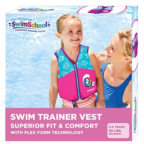 SwimSchool New & Improved Swim Trainer Vest, Flex-Form Design, Padded Shoulders and Adjustable Safety Strap, Easy On & Off, Medium/Large, Up to 50 Lbs., Pink/Aqua