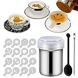 16 Pcs Kaffee Cappuccino Schablonen, Puderzuckerstreuer, Edelstahl Kakaostreuer, Schokoladenstreuer,...