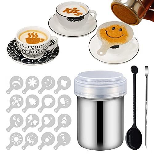 16 Pcs Kaffee Cappuccino Schablonen, Puderzuckerstreuer, Edelstahl Kakaostreuer, Schokoladenstreuer, Mehlstreuer, Kaffee Zubehör, Werkzeuge für die Herstellung von Kaffee-Cappuccino-Kuchen