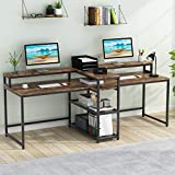 Tribesigns 78.7 Inch Two Person Desk with Storage Shelves, Long Computer Desk with Monitor Hutch for Home Office, Writing Study Gaming Table Double Workstation Desk (Vintage)