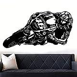 ASFGA Cool Motorcycle Wall Decal Vinyl Racing Race Driver Boy Boy Dormitorio Garaje Sala de Juegos Decoración de la Pared 58X31CM
