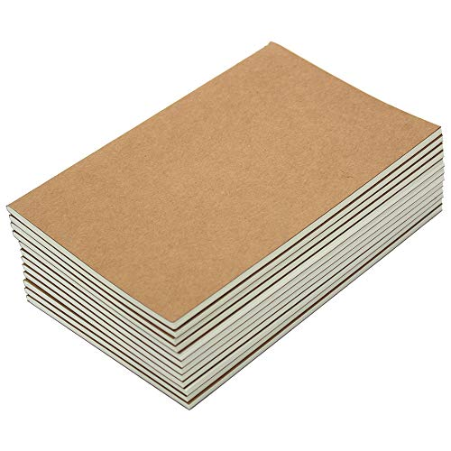 M-Aimee 12 Pack Journal Notebook Kraft Brown Cover Lined Notebooks for Travelers - A5 Size - 5.5 x 8.3 Inches - 80 Lined Pages/ 40 Sheets