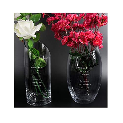 Regalo Personalizado para jubilación: florero Grabado con el Texto Que tú Quieras