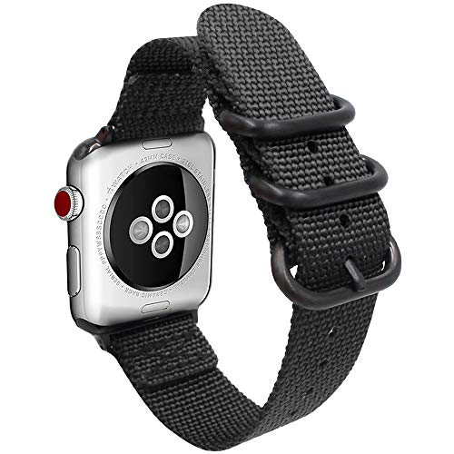 Gemony cinturino 38mm 42mm Uomo Donna NATO Nylon iWatch Band Sostituzione cinturino compatibile per Apple Watch Series 4 3 2 1(WBA-013E38, Black, 38mm)