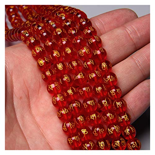WSJKL Impresión de Oro Riqueza roja Vidrio Palabra Tibetano Palabra Encanto Perlas para Mujeres Hombres Bricolaje Pulsera Collar Pendiente joyería Haciendo Accesorios