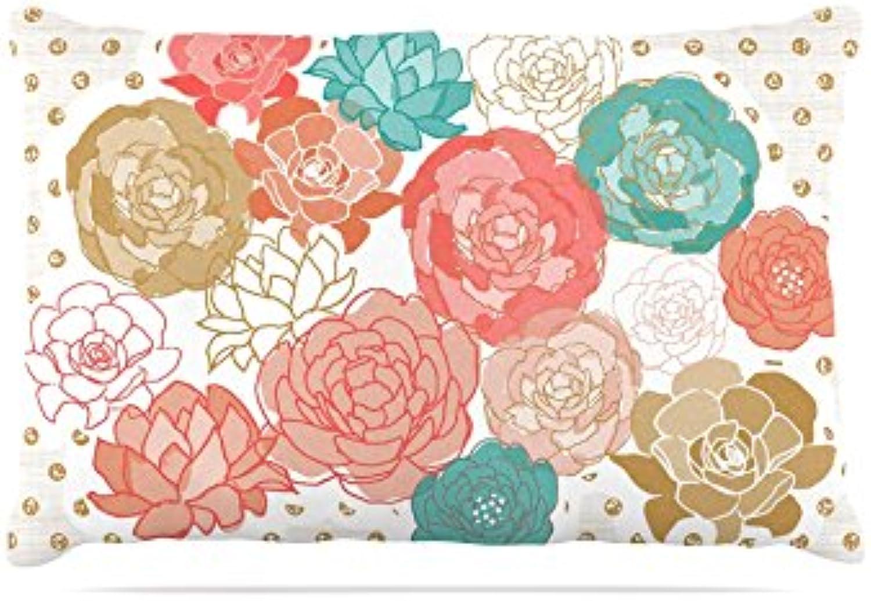 Kess InHouse Pellerina Design Watercolor Peony  Fleece Dog Bed, 50 by 60 , Pink Floral