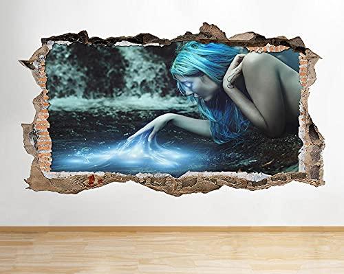 Sticker mural Fantasy Girl Blue Wall Sticker Affiche 3D Art Sticker Vinyl Room