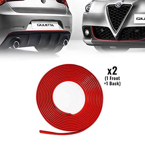4R Quattroerre.it 31863 Profilo Rosso Adesivo per Dam Paraurti Full Anteriore + Posteriore Alfa Giulietta con Biadesivo 3M APT
