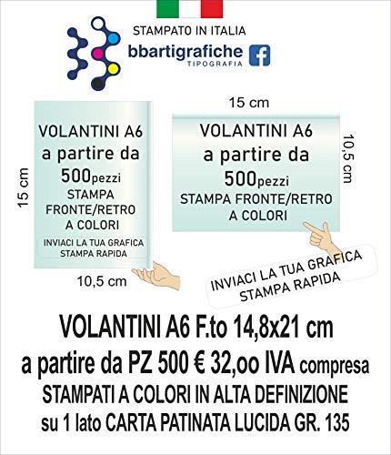 VOLANTINI A6 PERSONALIZZATI STAMPA FRONTE A COLORI (500)