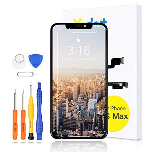 Yodoit Pantalla para iPhone XS MAX LCD Reemplazo Negro, 6,5 Pulgadas Display y Digitalizador Táctil Vidrio con Herramientas, Cristal Templado, Compatible con Modello A1921, A2101, A2102, A2103, A2104