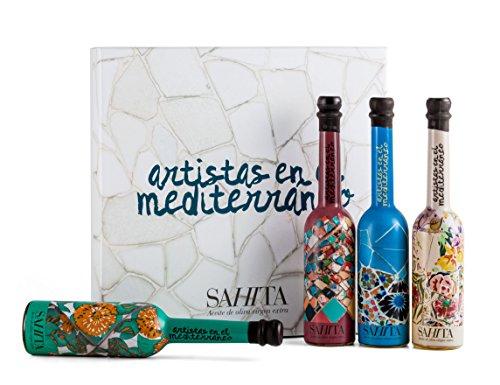 Sahita - Aceite de Oliva Virgen Extra - Estuche de Regalo Trencadís - Pack de 4 Botellas - 4 x 100 ml - Colección Artistas en el Mediterráneo - Diseño Premiado - Producto de España