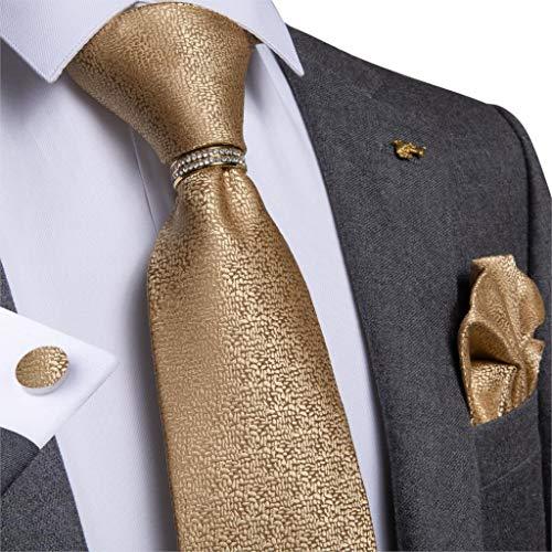 YTGUEVKDH Mens Necktie Yellow Solid Wedding Tie Compatible with Men Necktie Ring Silk Tie Set Hanky Cufflink Business (Color : JZ 03 532)
