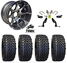 "12"" Banshee Gunmetal Wheels mounted on 23"" All Terrain Tires (Set of 4) and Jake`s 6"" Club Car DS Spindle Lift Kit - (1981-2003.5 Electric / 1996-2003.5 Gas)"