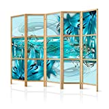 murando - Biombo XXL Flores Lirios Abstractoo Azul 225x171 cm 5 Paneles Lienzo de Tejido...