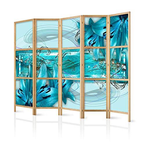 murando - Paravent XXL Blumen Lilien Abstrakt blau 225x171 cm 5-teilig einseitig eleganter Sichtschutz Raumteiler Trennwand Raumtrenner Holz Design Motiv Deko Home Office Japan b-C-0387-z-c