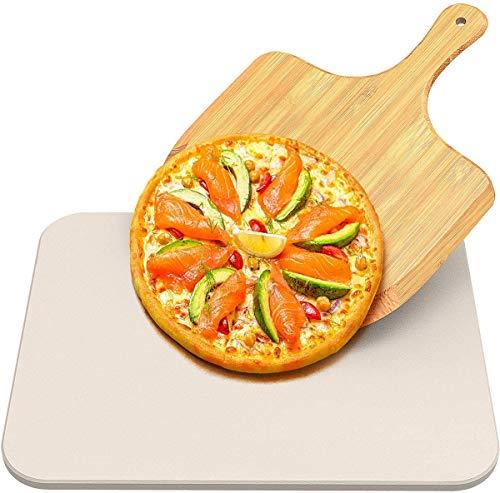 Pietra per pizza, Rettangolare Cordierite 38x30cm con Pala bambù, Pietra Refrattaria per Cottura Pizza per Cuocere nel Forno di Casa